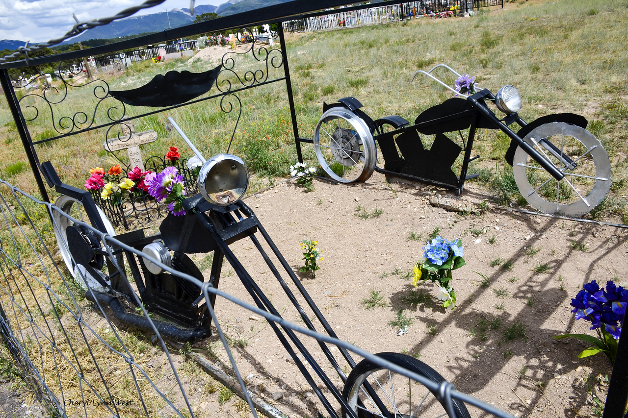 Los Llanitos Cemetery, New Mexico - Graves and memorial to two young peoplel killed on their motocycles