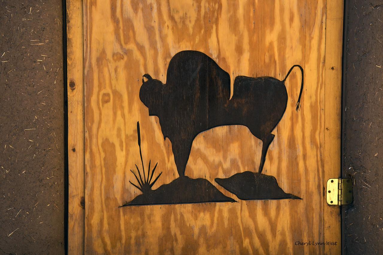 Taos Pueblo, New Mexico - Door with cut-out buffalo