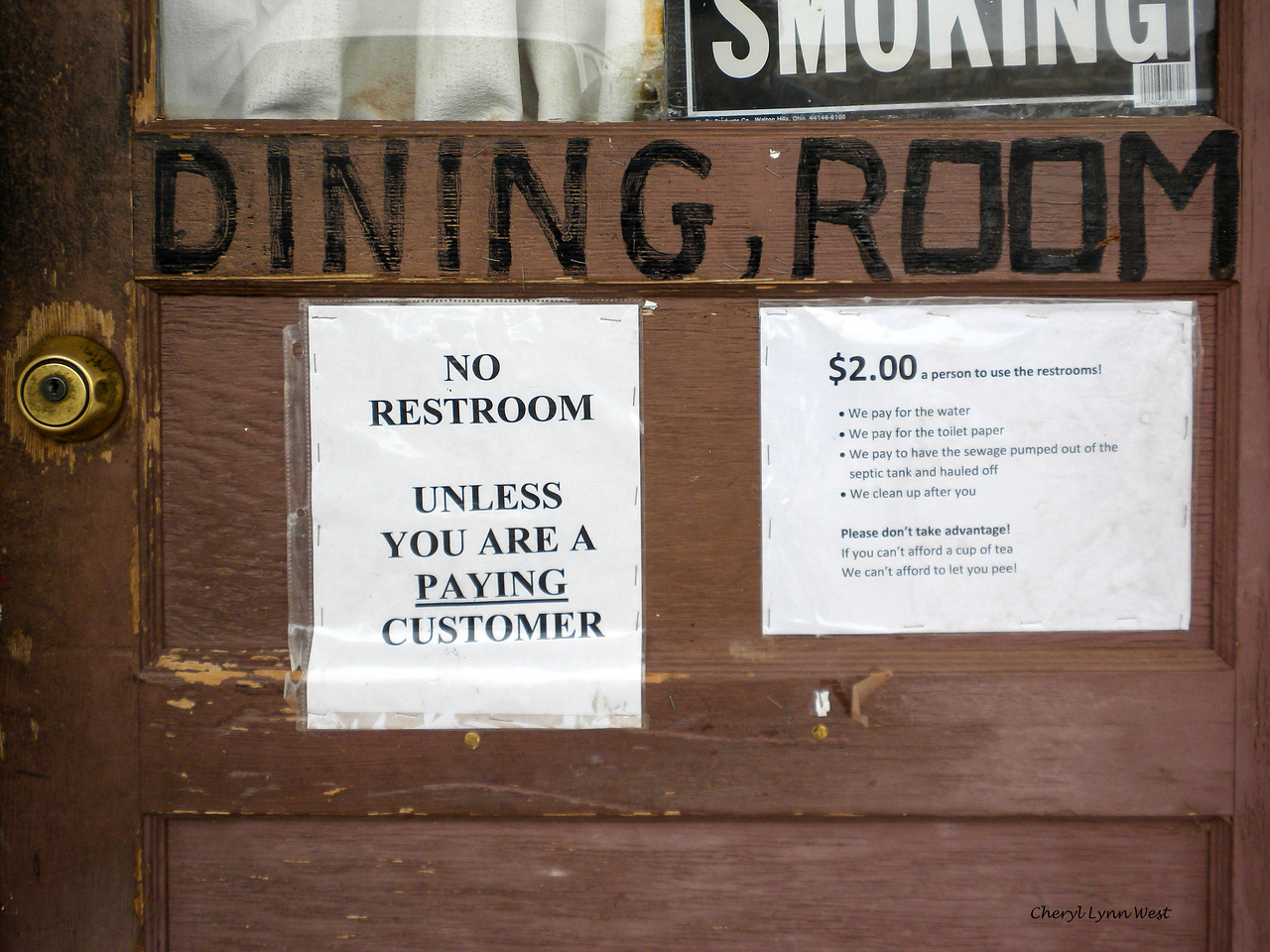 Bluff, Utah - Rules for using the restroom at the cafe where we stopped for lunch