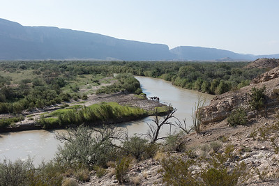 Rio Grande River - Big Bend National Park, along the border of Texas and Chihuahua, Mexico.  The opening to the Santa Elena Canyon is in the far middle background.