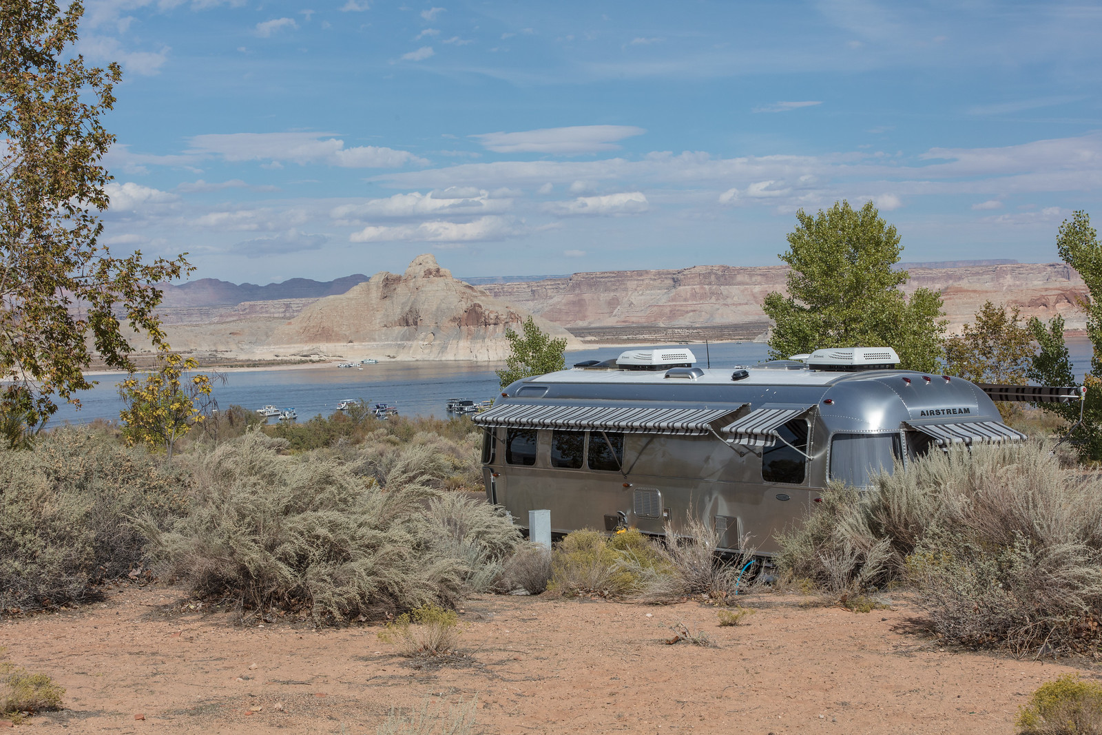 Wahweap RV center at Glen Canyon National Recreational Area.  Lake Powell in background.  Near Page, AZ.