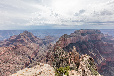 Vishnu Temple (center left) and Wotans Throne  (far center right) viewed from Point Imperial (8803' elevation) on the North Rim of Grand Canyon National Park. Arizona.  Geologist Clarence Dutton collectively named many of the canyon's plateaus, mesas, buttes and terraces  as 'temples' after Eastern religious and spiritual deities.