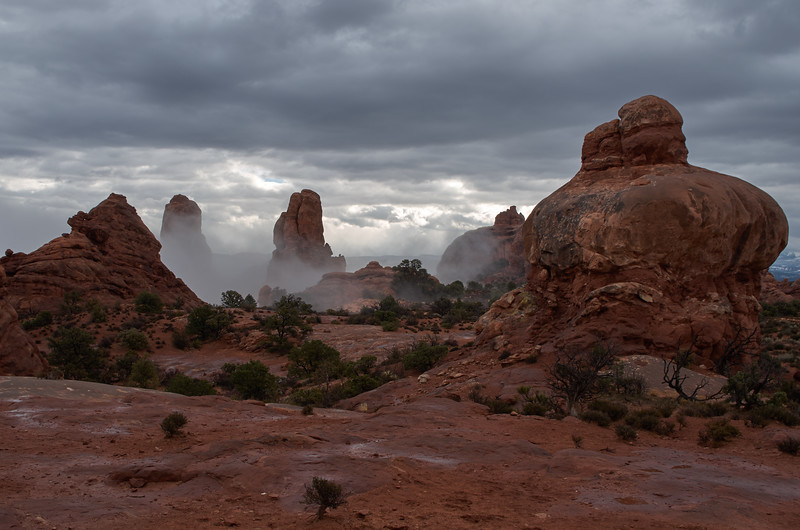 Mist, clouds and rock
