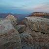 Rocks at Mather Point, twilight