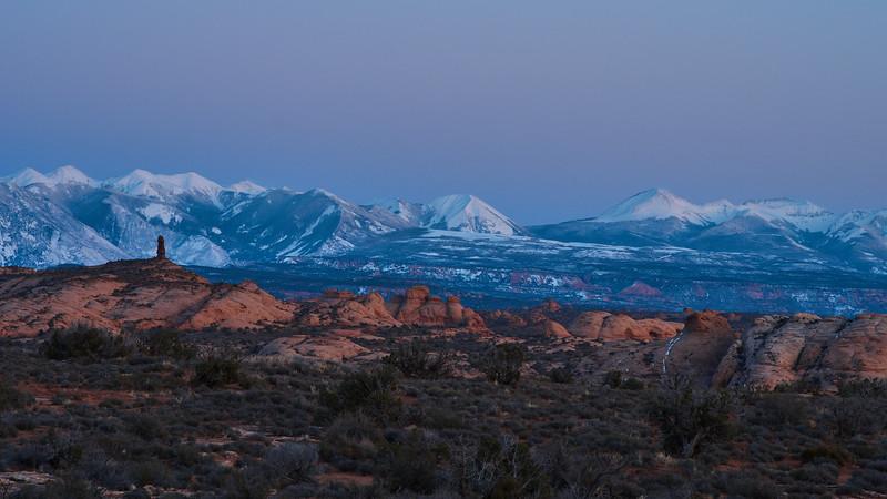 Twilight on the La Sal mountains
