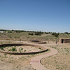 Kivas reconstructed at Kuaua Pueblo, on the banks of the Rio Grande outside of Albuquerque New Mexico.