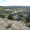 "Posi-Ouingue (""Green-ness"") Pueblo. This is an unexcavated site, circa 1400-1500. It was three stories high and had up to 1,000 ground floor rooms. It is located on a ridge above the Rio Chamas at Ojo Caliente."