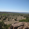 """Looking down at the Posi-Ouingue (""""Green-ness"""") Pueblo."""