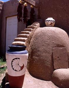 Taos Pueblo, pots, chiles, oven