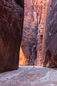 Hiking through Buckskin Gulch, Paria Wilderness, Utah.
