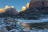 Sunrise Alpenglow and Reflection, Zion NP