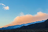 Eastern Sierras Sunrise with Valley, Ridgeline, Snow, and Orange Clouds