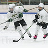 Noah Jubb (9) left and Emma St. Onge (5) pursue the puck into the offensive zone