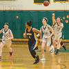 McKenna Leary passes the ball over the head of the Putnam defense to start a Southwick fastbreak
