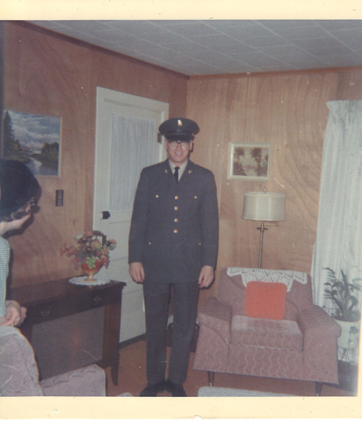 Johnson in his dress uniform at home.<br /> According to newspaper articles, Johnson entered the Army November 28, 1966. He arrived in Vietnam on May 10, 1967 and was to serve one year.<br /> He was killed on February 7th, roughly 3 months before he was to come home.<br /> It appears that he and his wife Judy spent time together in Hawaii in January 1968 while he was on leave.