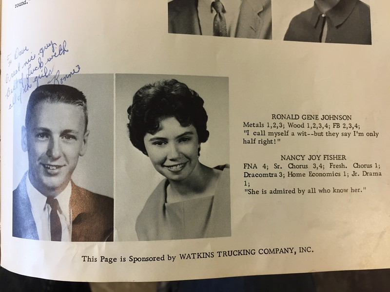 "1962 Uhrichsville yearbook<br /> "" I call myself a wit- - but they say I'm only half right!""<br /> Classic...."