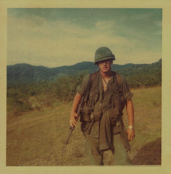 "Art Hughes thinks the photo album probably covers the entire year Johnson was overseas.<br /> ""Dicks Click"" written on Johnson helmet, was early 67 according to Hughes. <br /> Later photos in the album where the guys are wearing soft hats and later sweaters, was when the guys were up north in early 68."