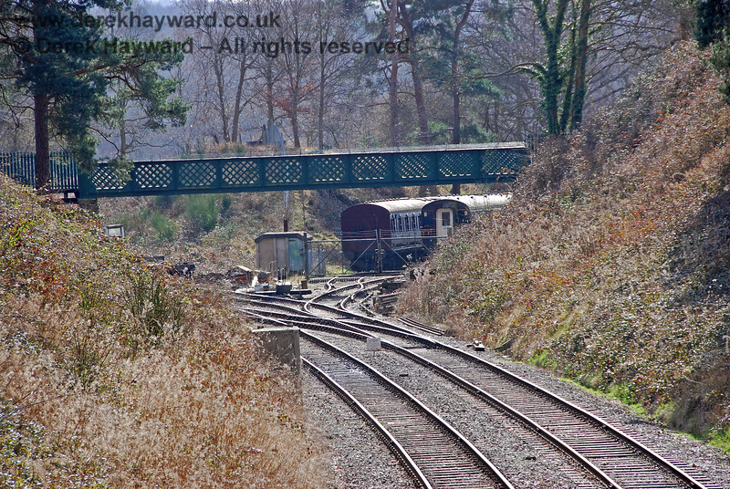 Looking west towards the sidings at Groombridge.  Scrub still needed to be removed from the embankments but the former thick undergrowth and trees are long gone.  02.03.2009