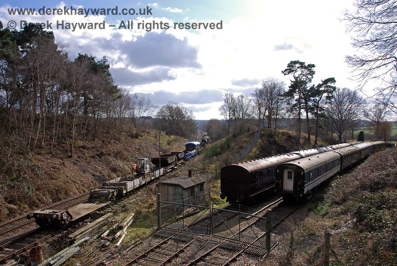 """""""Groombridge Junction"""" looking south on 02.03.2009, with a works train on the left."""