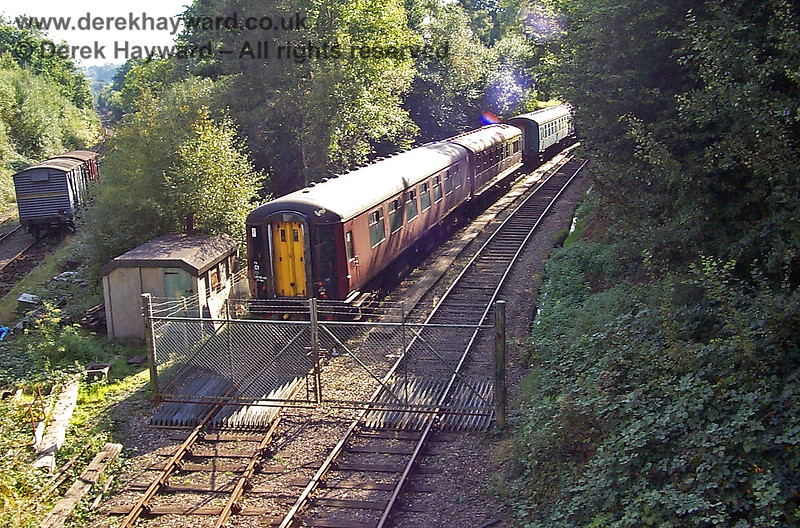 Groombridge Junction  looking west towards the remains of the Ashurst Spur in 1998, with less stock than usual in the sidings. 19.09.1998
