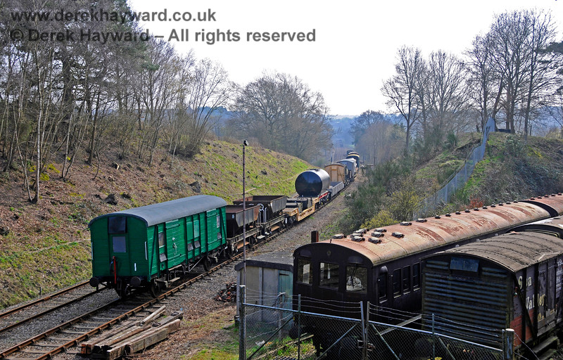 A wider view of the sidings with a freshly painted Passenger Luggage Van (PLV) in shot.  27.03.2011 6638