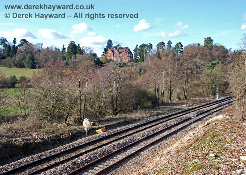 Looking north just south of the former Birchden Junction in 2009. The Network Rail line between Uckfield and London is furthest from the camera, and the refurbished Spa Valley track to Eridge is in the foreground. The Spa Valley Railway did not actually commence services to Eridge until 2011.  02.03.2009