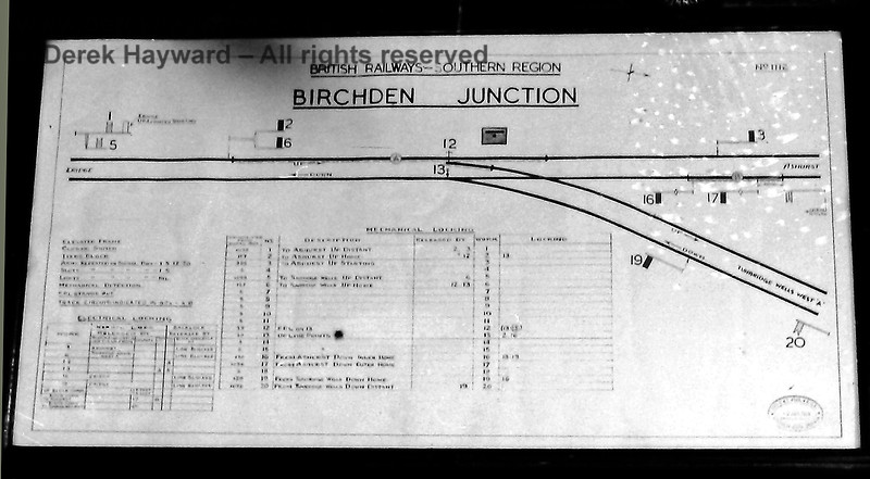Inside Birchden Junction signal box in June 1970, showing the track diagram. Eric Kemp retains all rights to this image.