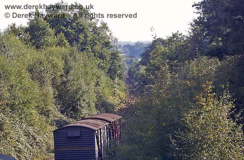 Looking from Groombridge Junction south towards Birchden Junction in 1998, but trees largely block the view. 19.09.1998