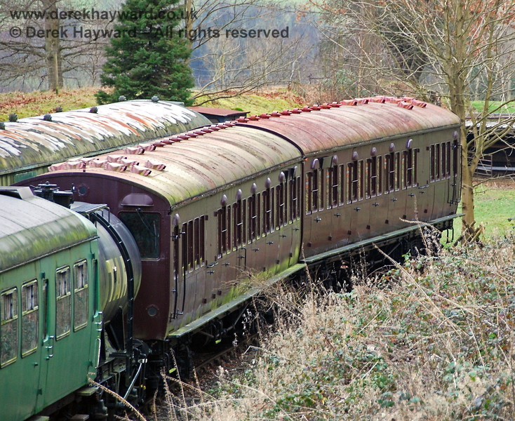 A view of Metropolitan Railway (London Underground) T-Stock numbers 2749 and 2758 stored in Groombridge sidings. These coaches were subsequently sold. 28.01.2008