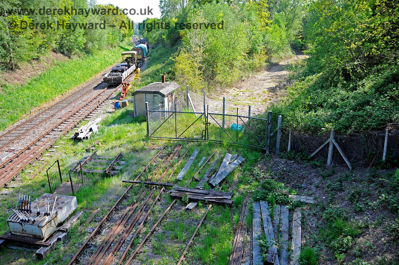 The remains of the track that led to the sidings on the former Ashurst spur.  The spur has been returned to the current owner of the land and a new fence erected, although the former gates to the sidings have yet to be removed.  The remaining track could be adapted into a short stub siding (if required). 29.05.2021 20704