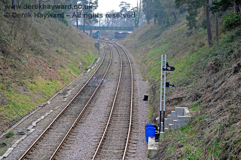 Looking west from Groombridge in 2011 with new signal posts in position and ready to receive signals. 27.03.2011 10460