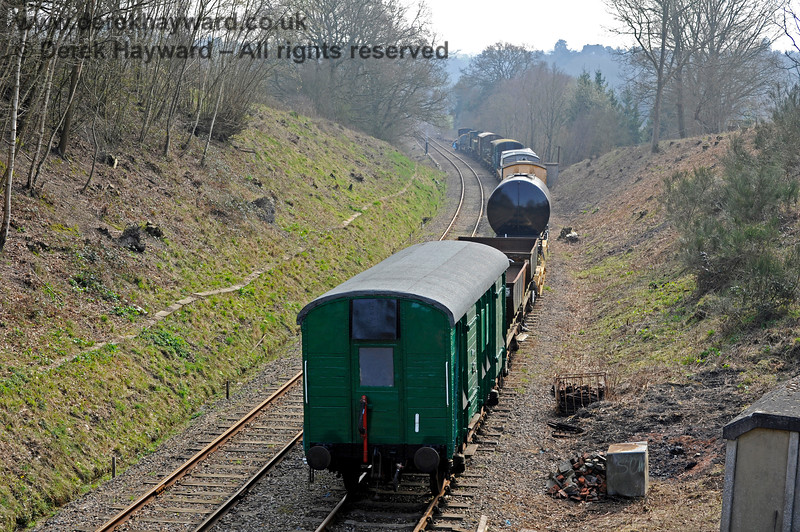The Up line from Birchden, in use as a siding for Spa Valley Railway stock.  27.03.2011 10456