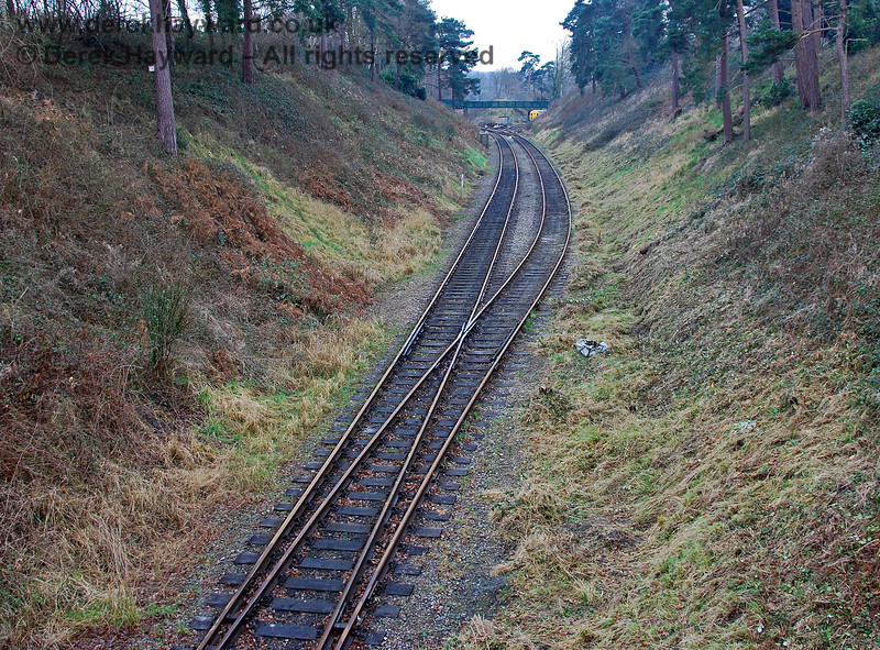 Looking west from Groombridge Station in 2008.  In preservation this section of track served as a loop to allow trains terminating at Groombridge to run round, there being no room to do so in the single track station. When the extension to Eridge was agreed it became necessary to signal the area as a passing loop to allow a suitable timetable to operate on services to Eridge. 28.01.2008