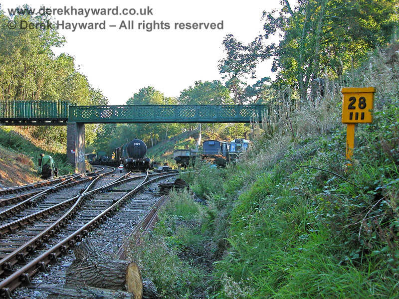 A ground level view of Groombridge Junction in 2005, looking west from  Milepost 28 III.  Tree clearance had been in progress. 19.09.2005