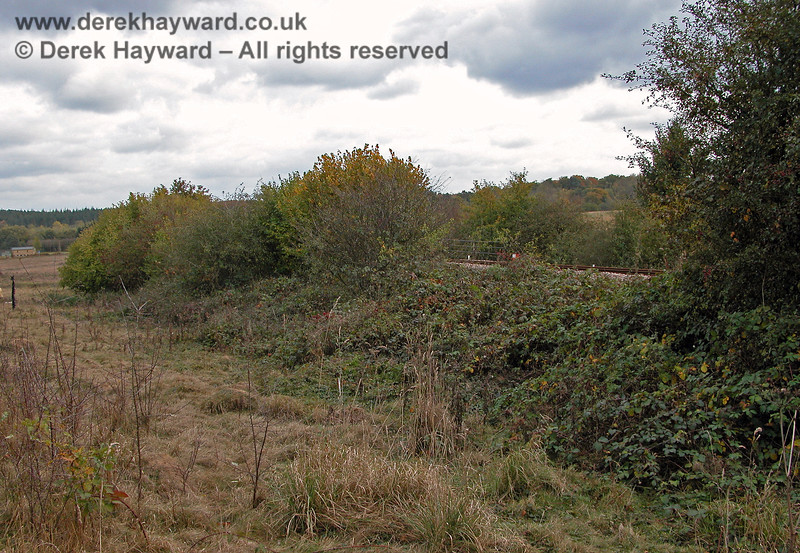 This is the route of operational line to Uckfield, south of the site of Ashurst signal box, viewed from the disused Ashurst Spur. The parapets of a bridge can just be seen, where the railway crosses a private unmade track. 19.10.2003
