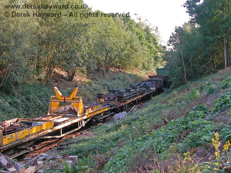 Looking south from Groombridge Junction in 2005.  The area is too overgrown to be able to see south towards Birchden  and miscellaneous stock stands in a siding formed from the former Up line. 19.09.2005