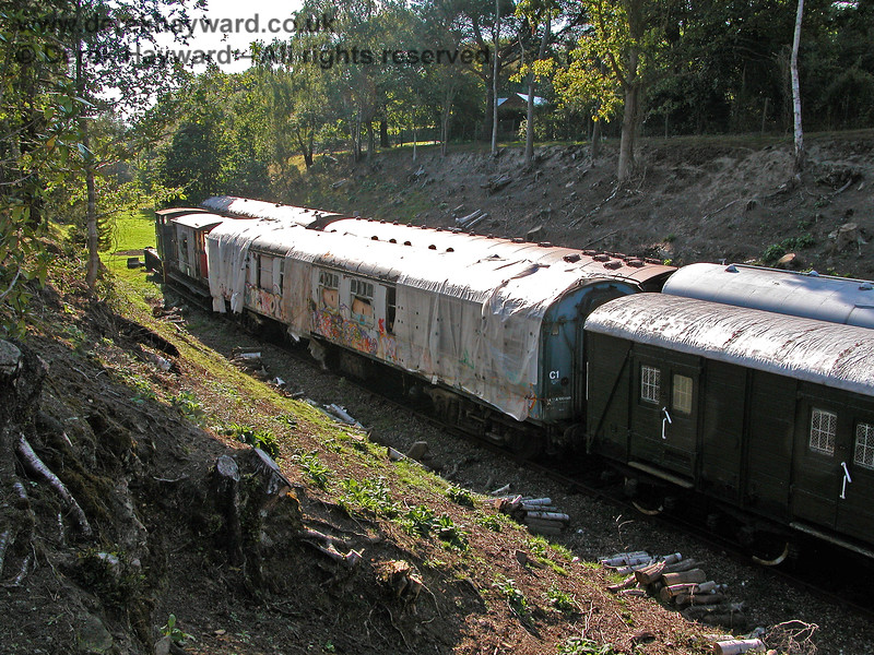 An unidentified Mk1 coach in Groombridge Sidings. 19.09.2005