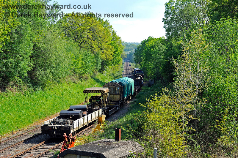 Looking down Birchden bank with the siding on the former Up line in shot. 29.05.2021 18052