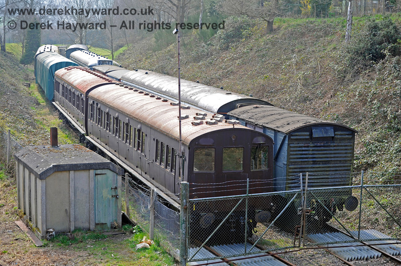 The remains of the Ashurst Spur, then in use as sidings for Spa Valley Railway stock. The Metropolitan Railway (London Underground) T-Stock numbers 2749 and 2758 standing in the foreground were subsequently sold.  27.03.2011 10459