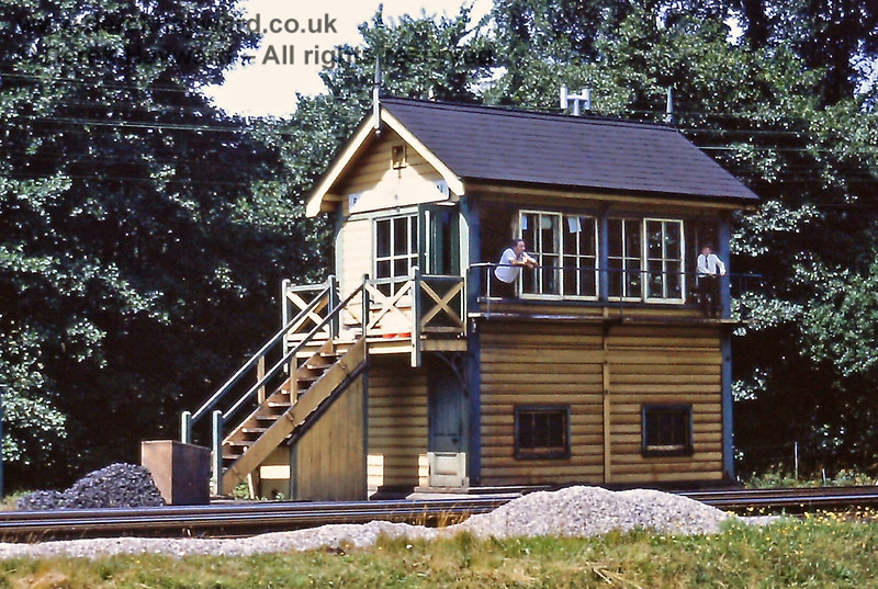 Birchden Junction signal box, pictured on 18.07.1970.  The signalmen seem to have an ample supply of coal for their stove.  Eric Kemp retains all rights to this image.