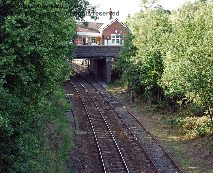 Looking from the other end of the road bridge it can be seen that the disused section of the bridge leading into the old Platform 4 (now Platform 3) was still obstructed by undergrowth. This bay platform is blocked at the southern end by an exit to the car park. 14.09.2008