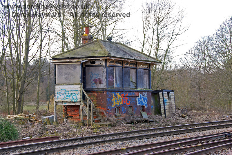 Eridge signal box.  It would have been nice to see this box externally restored to enhance the historic features that should be part of a heritage railway. Unfortunately it was subsequently demolished to make way for a platform extension.   As the box no longer exists more pictures of it have been included that would otherwise have been the case.   02.03.2009