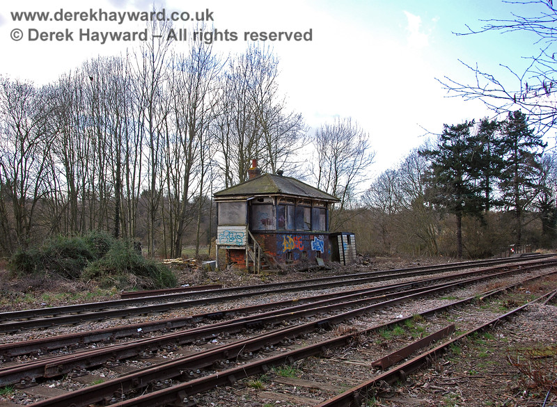 A wider view of Eridge signal box, which stood on the west side of the line, north of Platform 1. The site was subsequently used for a platform extension.  02.03.2009