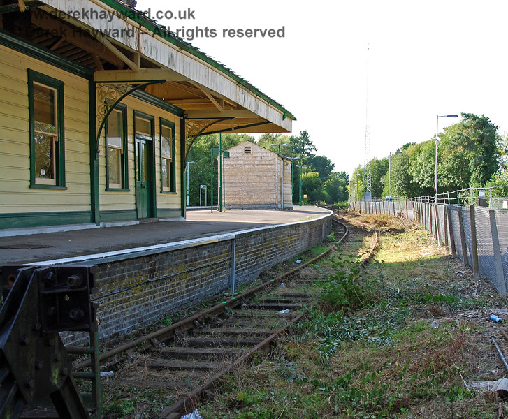 Moving now to pictures taken later in 2008, there had been a stunning transformation in the bay platform at Eridge.  The bushes had been cleared and the track was being repaired.  This view looks north from the buffers. This platform was originally Platform 4, but is currently called Platform 3. 14.09.2008