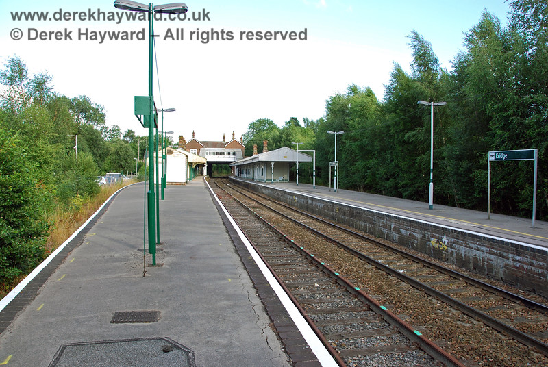 Looking south down the Spa Valley platform from the same point.  No work had yet been done on the bay platform (Platform 3).  This would be a future project.  Marks can just be seen on the platform indicating where the surface needed to be repaired. 29.07.2008