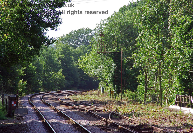 The first group of pictures in this gallery were taken on 22.06.2008 when contractors were clearing undergrowth and restoring the track north of Eridge for Spa Valley Railway use. The removal of the undergrowth produced a dramatic change in the view (compare these pictures with the gallery covering the period up to 2008).  The bracket signal and milepost were finally revealed again. 22.06.2008