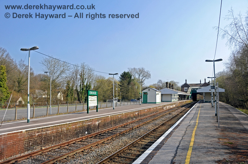 Looking south from what was then the northern end of Platform 1 at Eridge.  The platform has subsequently been extended.  27.03.2011 6612