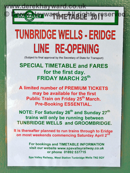 Spa Valley Railway poster advertising the re-opening to Eridge on 25 March 2011.  27.03.2011 6583