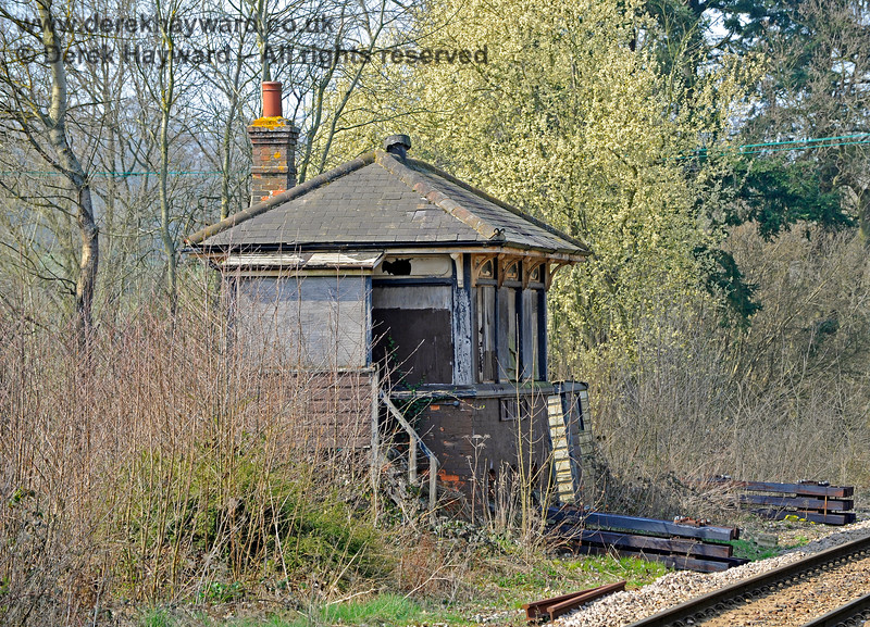 Eridge signal box, in a sad condition.  The signalman would originally have had a view over the northern tracks and into the goods yard. 27.03.2011 10427