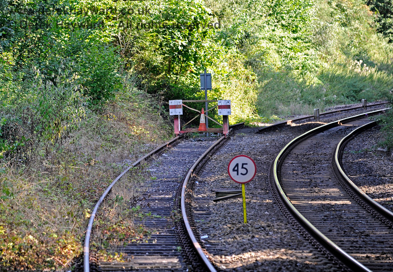 South of Eridge, by 2019, Network Rail had re-positioned their 45mph speed sign to a more sensible location although it remains a mystery as to why they have to have a hand-painted sign.  25.08.2019 17404